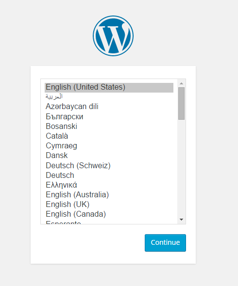 Select the language for your WordPress installation.