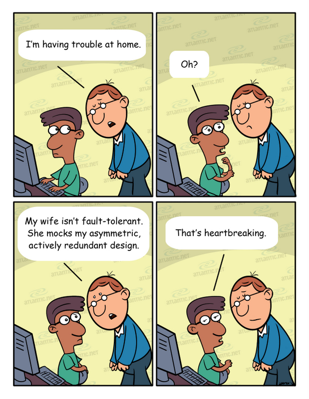 Hosting Humor: the role of fault tolerance in married life (comic), asymmetric and redundant design