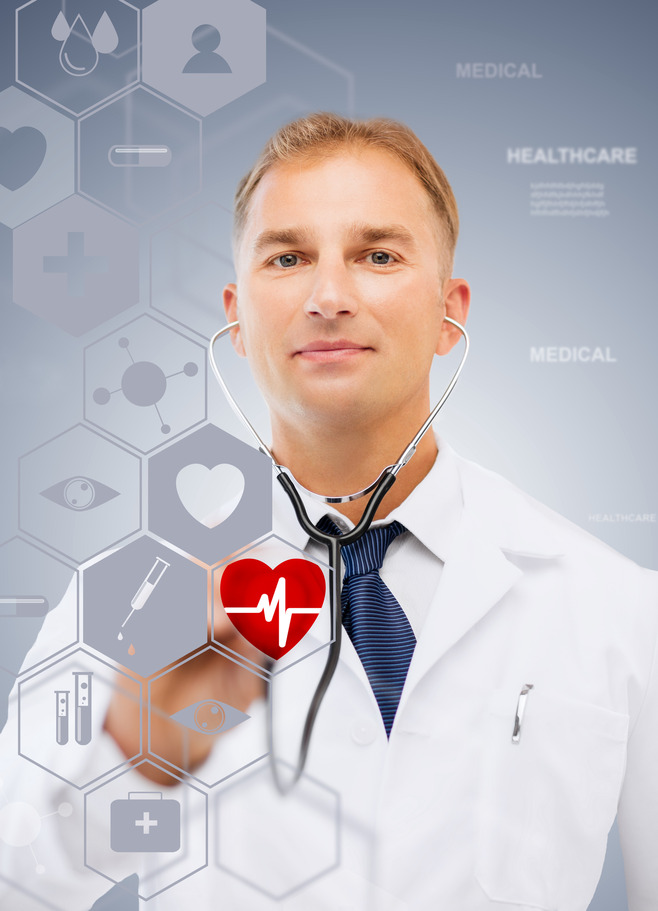 male doctor with stethoscope and virtual screen