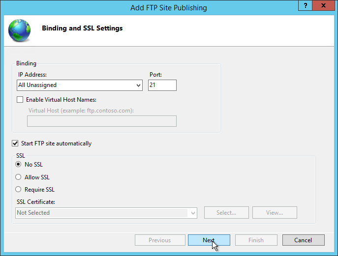 Bindings and SSL Settings