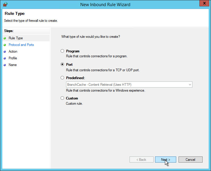 New Inbound Rule Wizard Ports
