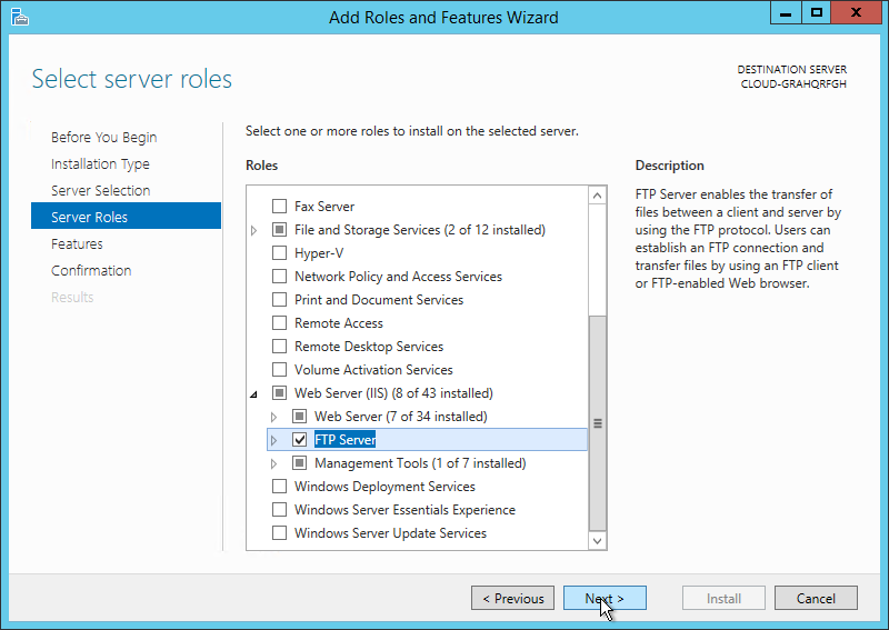 Under Server Roles select FTP Server