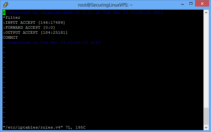 Sample: /etc/iptables/rules.v4