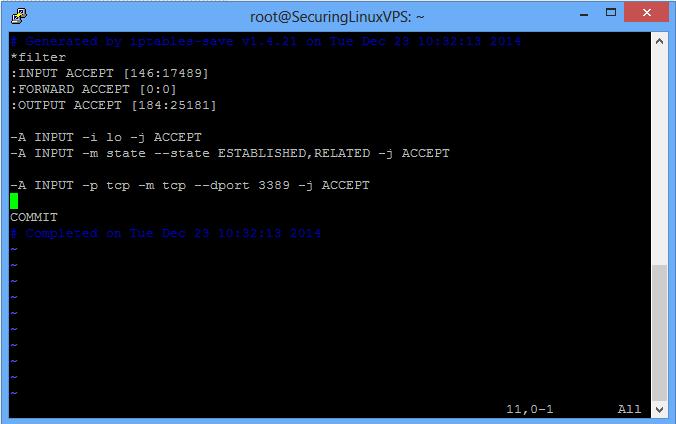 Sample: /etc/iptables/rules.v4