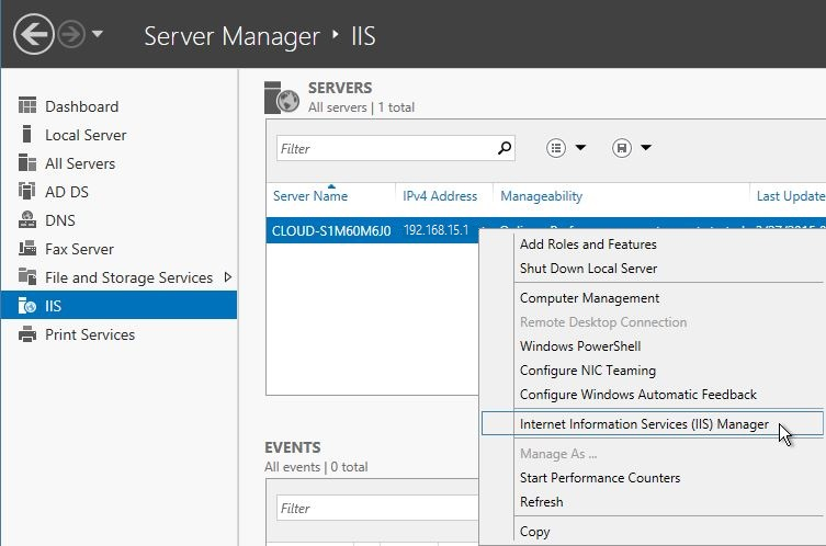 Open Internet Information Services (IIS) Manager