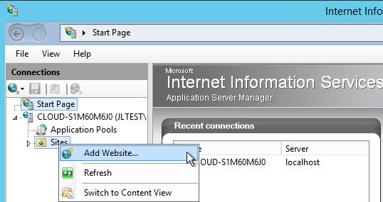 Open IIS, under Sites, select Add Website