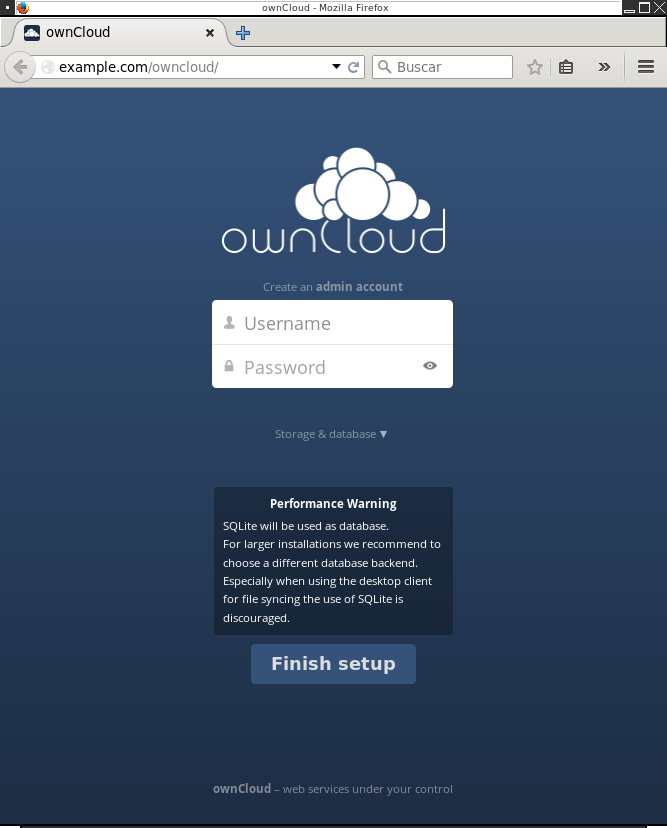 ownCloud initial login screen