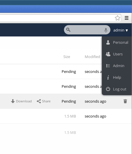 ownCloud menu to create or edit users