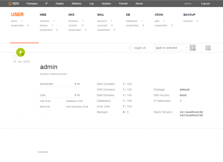 An example of the Vesta control panel after logging in