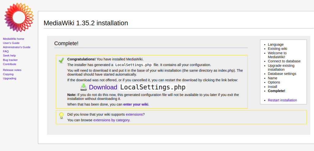 MediaWiki Download LocalSettings Page