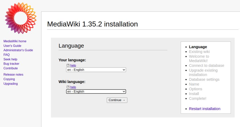 MediaWiki Language Selection Page