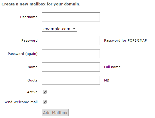 Creating a new mailbox in Postfix Admin