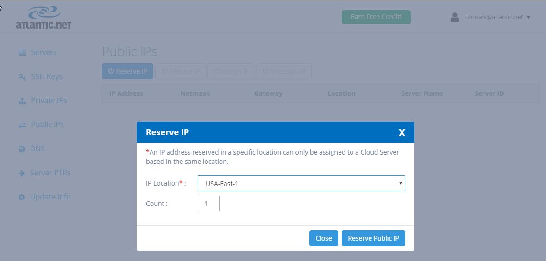 Reserving a public IP