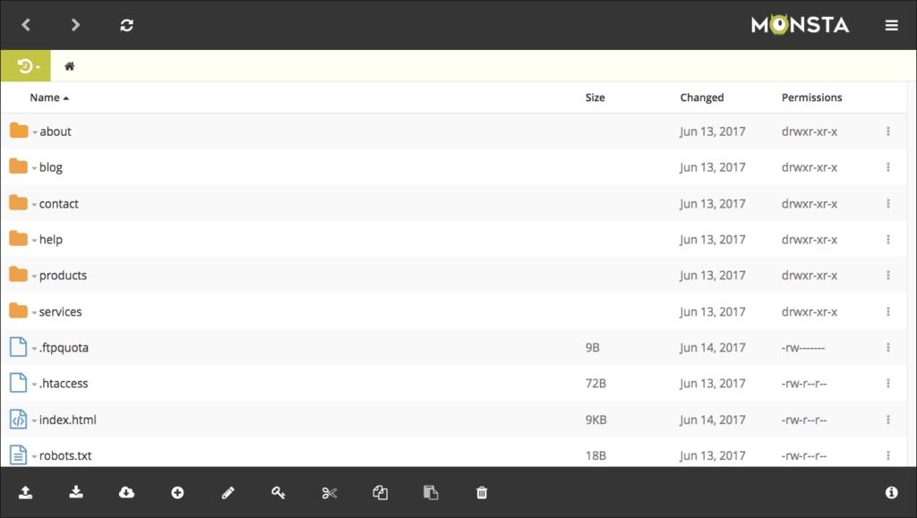 Monsta FTP File Listing Screenshot