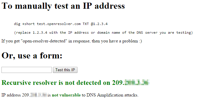 Successful Open Recursive DNS Resolver Test