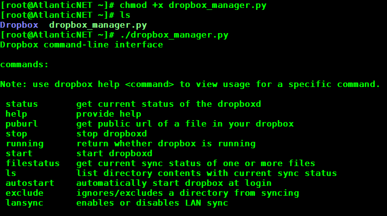 An example of the ./dropbox_manager.py for Dropbox