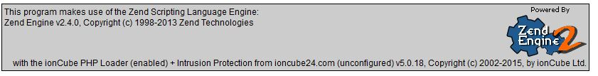 This is the Zend Engine confirmation that ionCube Loader is currently enabled.