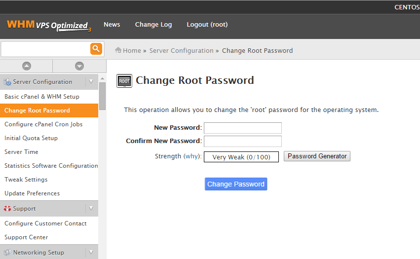 "Navigate to WHM's ""Change root password"" section under ""Server Configuration"""