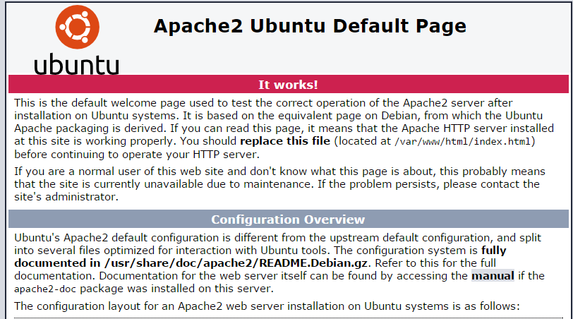 This image is the default web page when installing Apache on Ubuntu 14.04