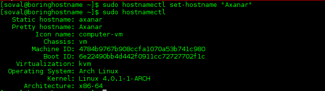 hostnamectl on Arch Linux