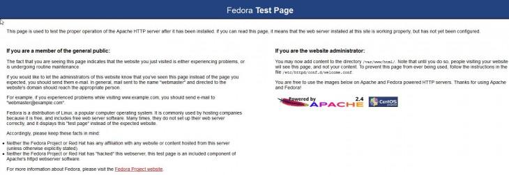 Default apache test page