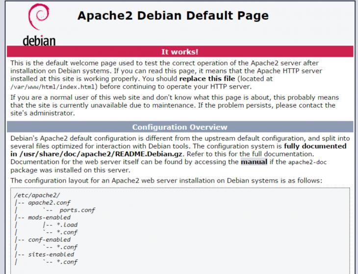 Un exemple de la page par défaut d'Apache sur Debian 8