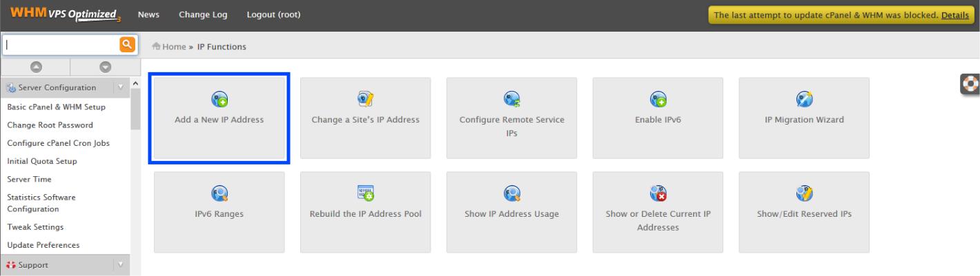 WHM Add a New IP Address option