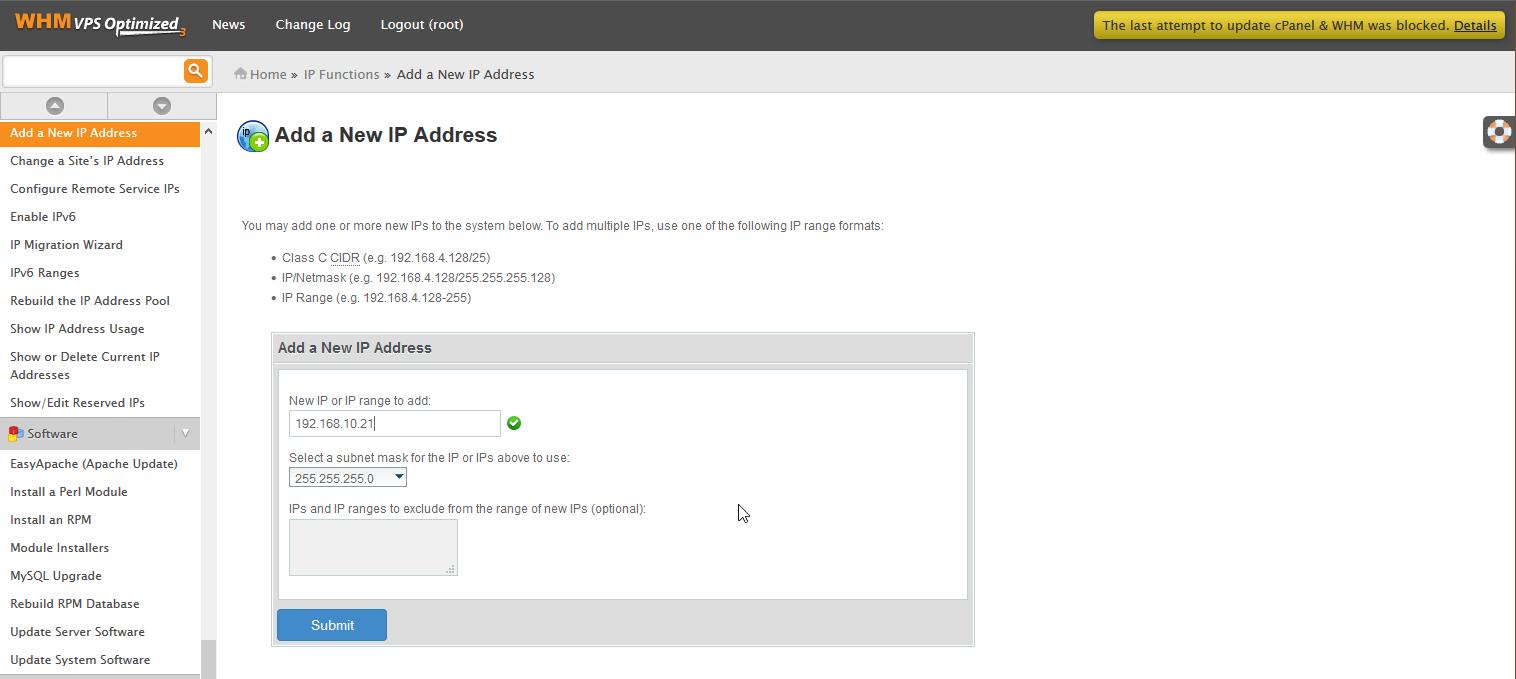 WHM adding an additional IP address