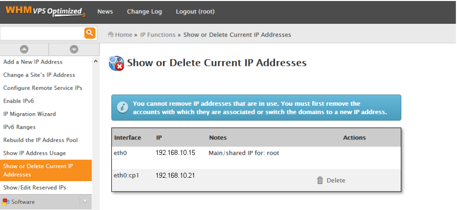 WHM showing currently assigned IPs