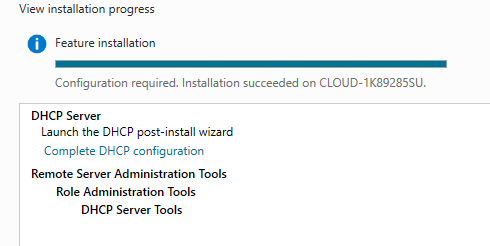 "Select ""Complete DHCP"" configuration"""