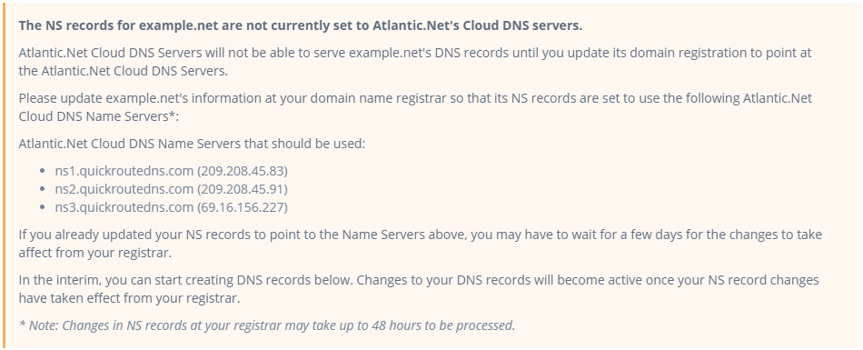 Incorrect nameservers message