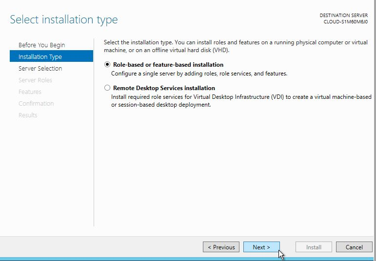 Select Role-based or feature-based installation