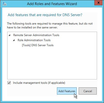 Select Add features in the Add roles and features wizard