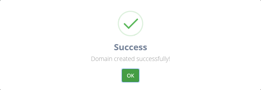 Domain created successfully