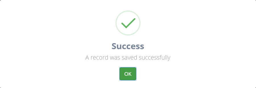 Record saved successfully