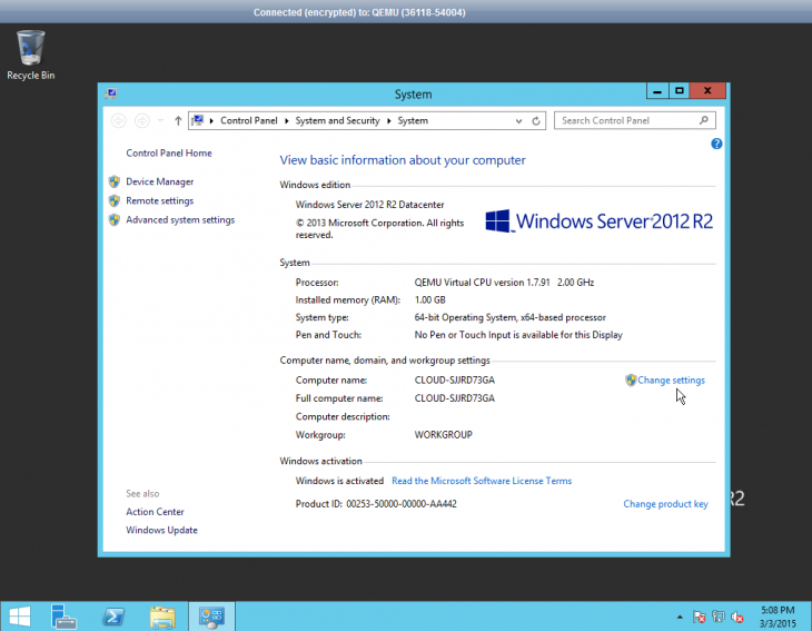 "Screenshot of the ""System"" dialog box in Windows Server 2012"