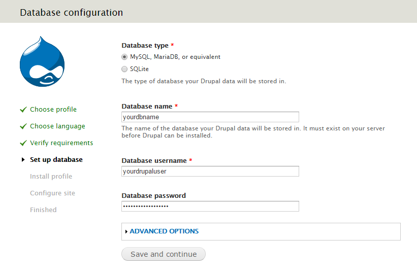 Add the MariaDB database, user and password into their designated fields.