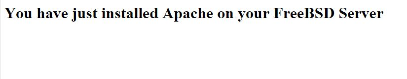 This is the test page created to verify Apache was installed correctly in FreeBSD