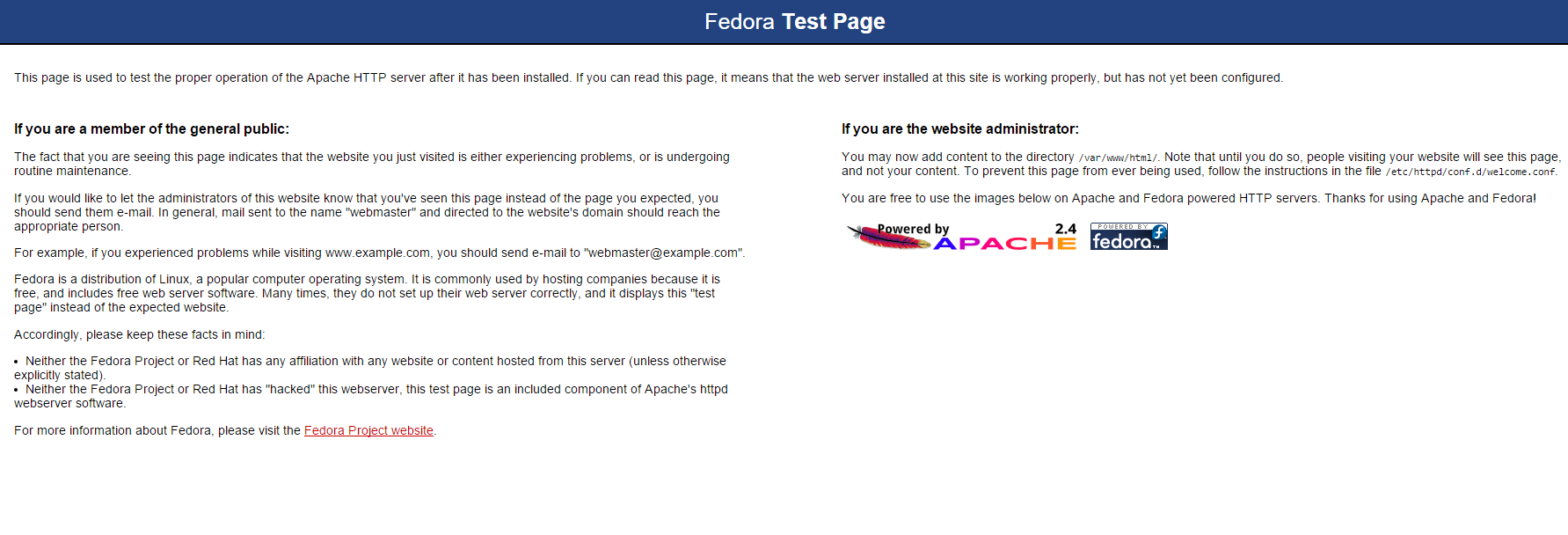 The default Apache page for Fedora 23