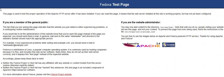 The default Apache page for Fedora 22
