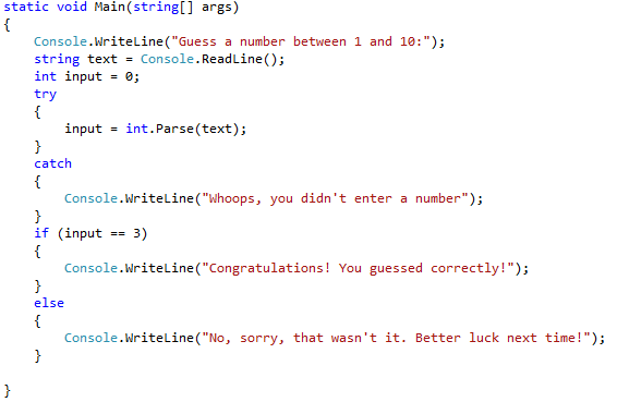 Figure 4: Guessing Game Program Code with Conditional Code Blocks