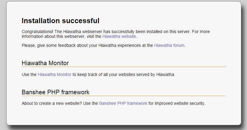 An example of the Hiawatha installation web page