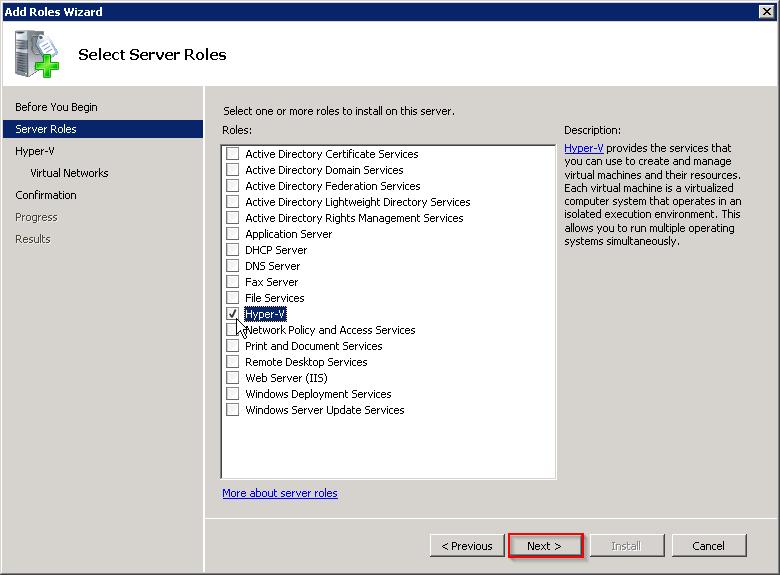 Under Select Server roles select Hyper-V