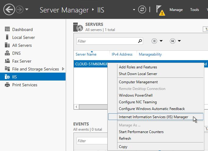 Within server manager, under IIS, select Internet Information Services(IIS) Manager