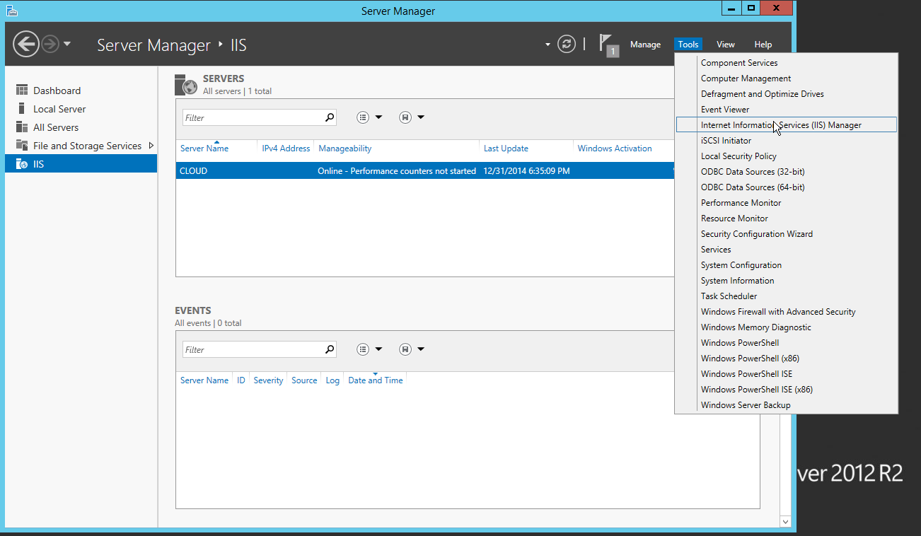 You may access Internet Information Services manager from the Server Manager tools