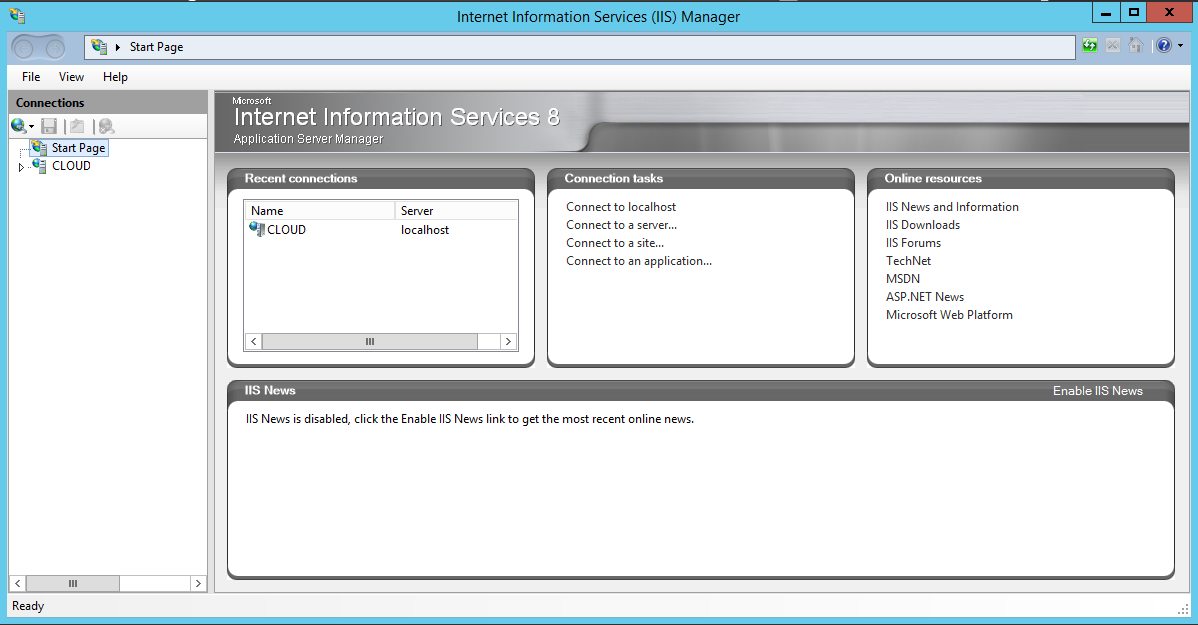 Sample IIS Manager