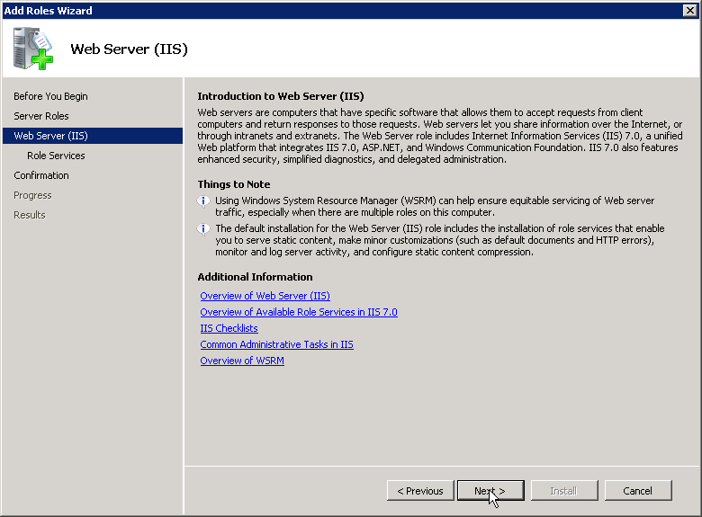 Select next in Web Server (IIS)