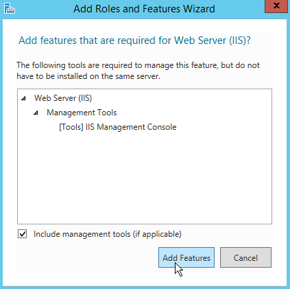 Include the management tools and select Add Features.