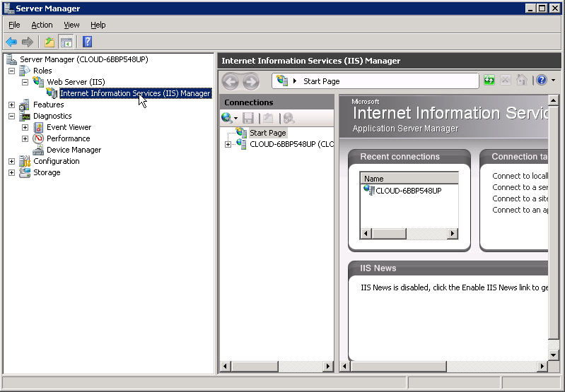 Open server manager and verify IIS Manager has been installed