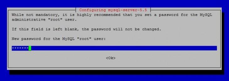 Um exemplo da definição da senha MySQL durante a instalação.